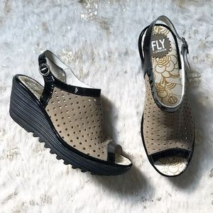 Fly London Suede Perforated Leather Wedge Sandals